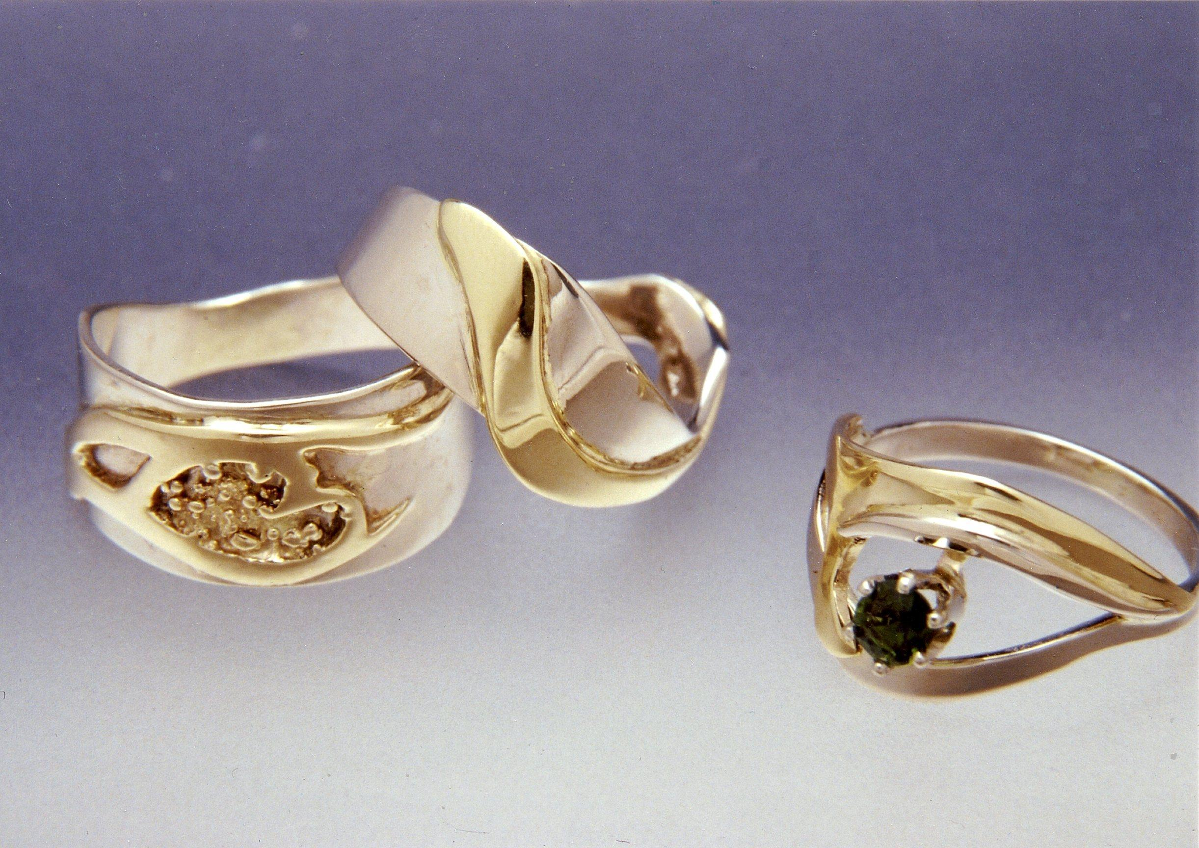 Three Married-metal Contoured         Rings